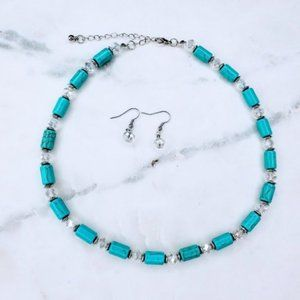 2/24 Turquoise color necklace and earrings set